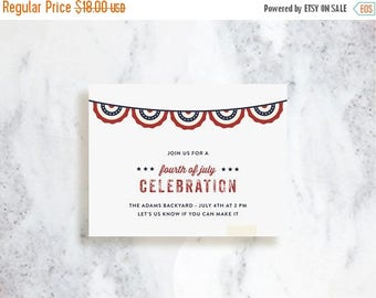 ON SALE Independence Day Invitations // Front Porch // Birthday Party Invite // Baby Shower // 4th of July