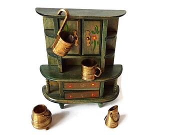 Miniature Brass Kitchen Accessories / Vintage  Collectible Dutch Colonial Dollhouse Kitchen Decor/Pots Pans