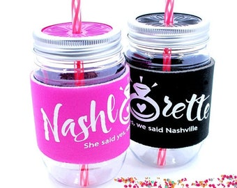 ON SALE Bachelorette Party Cup, Nashlorette, Nashville, She Said yes, We said Nashville, Bride Cup, Hot Pink or Black