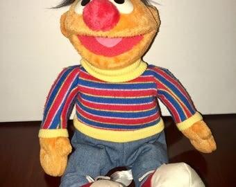 "Vintage 12"" Seasame Place Sesame Street Ernie beanie plush toy"