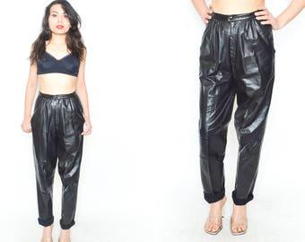 BLACK LEATHER JEANS. High Rise Waist.  90's Grunge Leather. Vintage  1990's Mod Minimalist Modern Black Leather Pants. Size Small Medium
