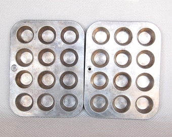 Set of 2 Vintage MIRRO Mini Muffin Tins Aluminum Mini Muffin Pans by MIRRO Older Mirro Mark