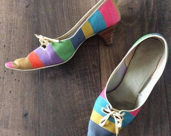 30% OFF 1970's Rainbow Striped Kitten Heels Size 6.5 by Maeberry Vintage