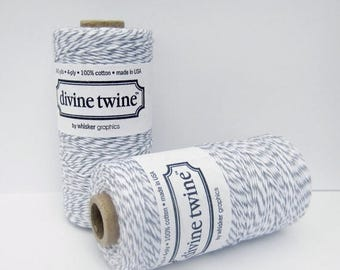 VACATION SALE Oyster Divine Twine- full spool, 240 yards, gray and white, cotton string, bakers twine