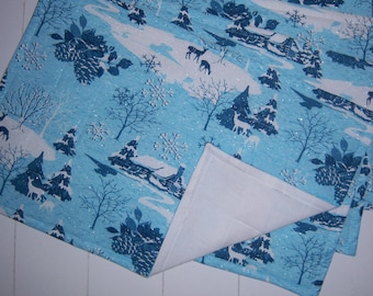 Four Blue and White Winter Glittery Placemats