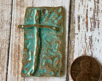 Turquoise Blue Patina over Light Gold Pewter Hammered Cross Rectangle Pendant