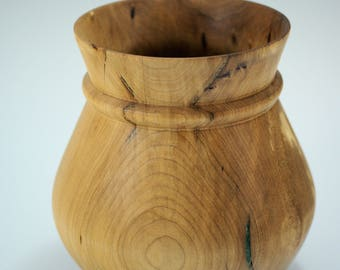 Wooden Vase Hand Made from Maple with Green Resin Inlay, V2848