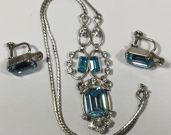 Vintage Van Dell Sterling Demi Parure Necklace Earrings Pale Blue and Clear Rhinestones