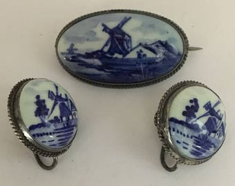 Vintage Holland Delft Brooch and Earrings Pottery Porcelain