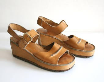 Leather Wedge Sandals 8