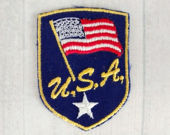 "Vintage U.S.A. American Flag Patch 2.75"", Patriotic Applique, Red White Blue Collectible, United States Collectable"