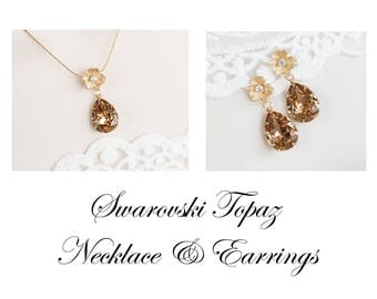 Vintage Style Gold Flower Swarovski Topaz Necklace and Earrings, Vintage Style Floral Topaz Swarovski Set, Gold Floral Swarovski Jewellery
