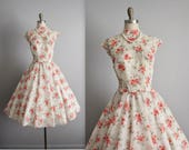 50's Floral Dress // Vintage 1950's Sheer Floral Print Full Garden Party Circle Dress M