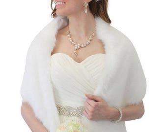 Summer Sale Pure White Faux Fur Stole, Bridal wrap, faux fur bridal shawl, faux fur shrug,  #900F-WHI