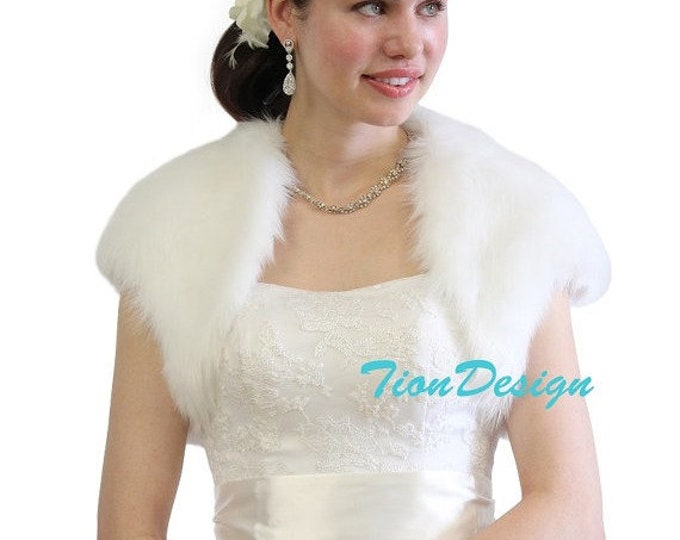 Easter Sale Faux Fur Bridal Bolero Crop Jacket, Shrug Pure White 603NF-WHI