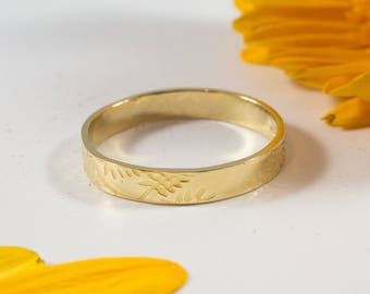 Gold Botanical Wedding Bands: A Set of one 9k and one 14k Ash gold wedding rings