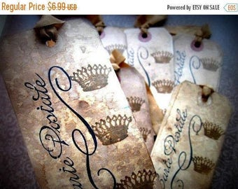 French Inspired Cottage Chic Hang Tags - Crowns Carte Postale - set of 6 - Black Sepia