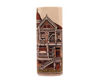 Takahashi Ceramic Wall Pocket Vase Painted Lady Victorian House Motif