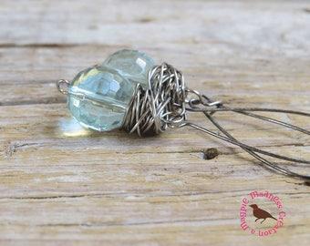Aquamarine Quartz Earrings, Aqua Dangle Earrings, Aqua Messy Wire Wrap Earrings, Rustic Quartz Ball Earrings, by Magpie Madness for Etsy