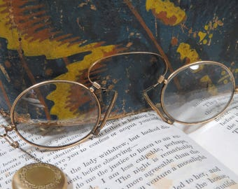 Pince Nez Eyeglasses with Retractable Chain in Gold Filled Brooch Spring Hinge Victorian Glasses