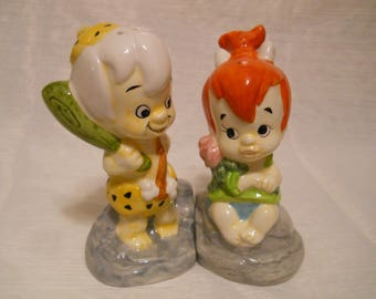 Pebbles and BamBam Salt and Pepper Shakers - collectible, vintage, cartoon