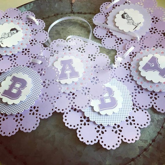 Baby Shower Banner Baby - READY TO SHIP - Girl Banner Retro Sweet Banner Purple Girl Baby Shower