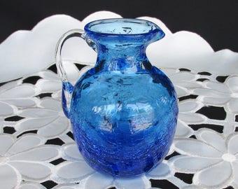 Vintage Pilgrim Glass Blue Crackle Art Glass Pitcher Clear Crystal Handle