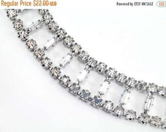 20% OFF SALE - Vintage Crystal Baguette and Square Rhinestone Bracelet