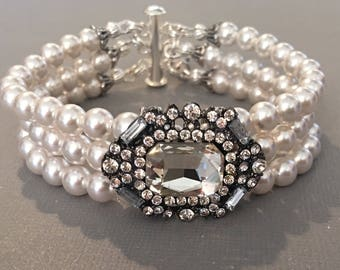 Gatsby Pearl Bracelet 3 strands Swarovski pearls in White with Gunmetal Art Deco Rhinestone focal perfect bridal bracelet wedding jewelry