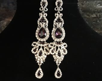Long Purple Earrings silver with clear rhinestone earrings purple bridal earrings elegant wedding earrings mother of the bride