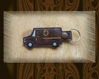 Brown Mail Delivery Truck Key Fob, Key Chain, Luggage Tag, Bag Clip, Vinyl, Key Ring, Back Pack Pull, Purse Charm