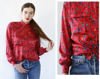 Vintage Escada Silk Blouse M/L • 80s Silk Blouse • Red Floral Blouse • Escada Blouse • Floral Silk Blouse • Oversized Silk Shirt | T1044