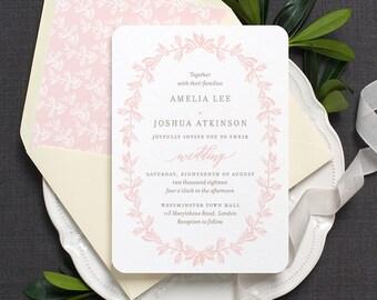 Vintage Wedding Invitation / 'Vintage Wreath' Botanical Garden Wedding Invite / Blush Pink Grey Gray Taupe / Or Custom Colors / ONE SAMPLE