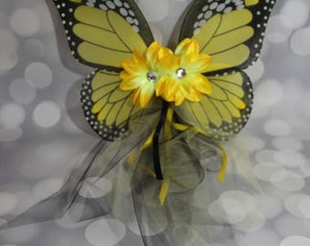 Yellow Monarch Butterfly Wings, Girls Fairy Wings, Girl Butterfly Wings, Children's Pixie Wings, Monarch Play Wings, Dress Up Wings, FW1748