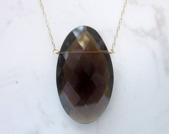 """Estate Huge 20 ct Smoky Quartz Unique Oval Faceted Drop Necklace on 16"""" 14k Solid Yellow Gold Chain"""