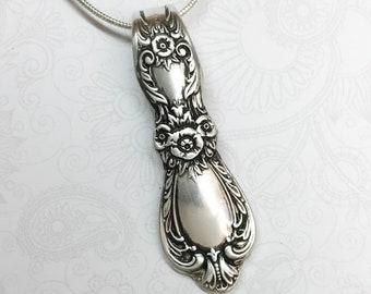 Vintage Spoon Necklace Pendant, Silverware Jewelry 'Heritage' 1953