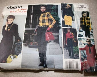 Vintage Vogue Pattern 2753, Career Wardrobe, Sizes 14-16-18