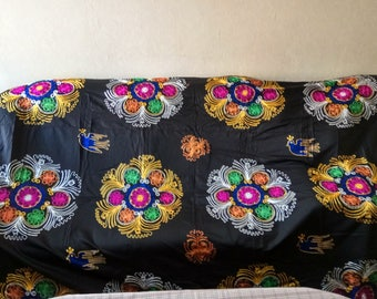 Vintage Uzbek silk embroidery on black cotton suzani. Bed cover, wall hanging, home decor suzani. SW010