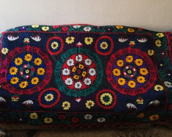 Vintage Uzbek silk hand embroidery on black cotton suzani. Bed cover, wall hanging, home decor suzani. SW059