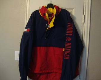 TOMMY HILFIGER Jacket Large Vintage Tommy Spell Out Hip Hop Tommy Colorblock Windbreaker Trainer Hoodie Navy Blue Jacket 1990's Size XL