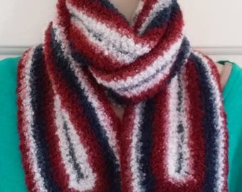 Scarf - Red, White and Blue -  Great for New England Patriots or Houston Texans NFL Fans