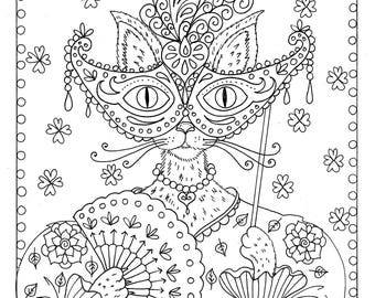 Fantasy Cat instant Download Coloring page/color/cat/digital/cats/animals/adult coloring page
