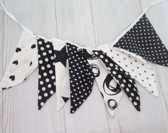 Banner boys room , black and white banner , boy room banner , fabric garland , fabric flags
