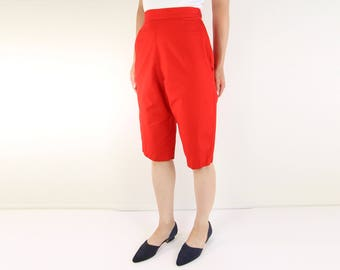 VINTAGE Capri Pants Red 1960s Pedal Pushers