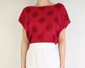 VINTAGE Rose Sweater 1980s Knit Top Red