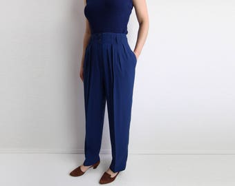 VINTAGE Womens Pants Indigo Trousers High Waist Tapered Leg Small 27