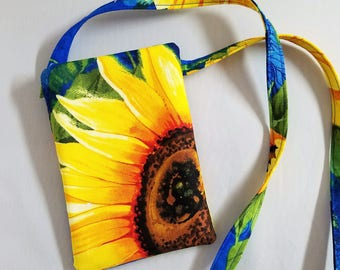 Sunflower Cell Pouch Mobile Phone Pouch Flip Phone Pouch with Lanyard Sunflower Fabric Case with Neck Strap Mobile Phone Case Gift for Her