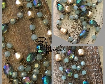 SALE New French Style Finery Baroque pearls shades of teal Crystal Beads