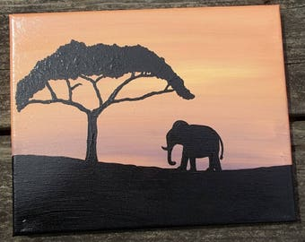 African Elephant Acrylic Painting, Africa Landscape Painting, Wall Decor, Wall Art, Home Decor, Hand Painted, Canvas Painting, Landscapes