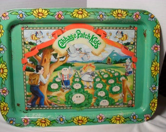 1983 Vintage Cabbage Patch Kids Metal Folding Tv Tray Appalachian Art Works